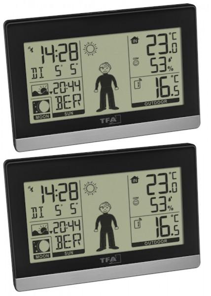 Funk-Wetterstation Weather Boy Mega TFA 35.1159.99 Funkuhr 2 Display digital