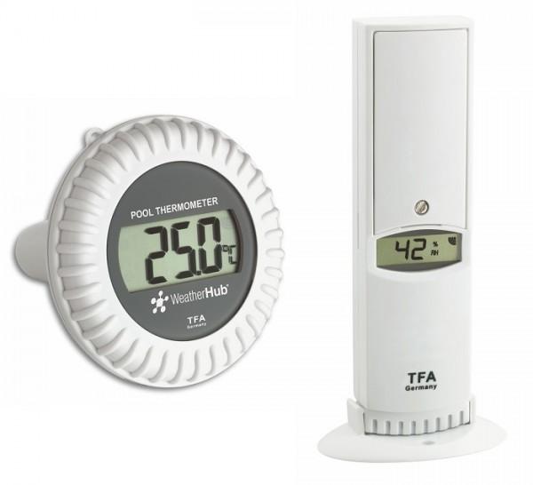 Weatherhub Thermo-Hygrosender mit Schwimmsender TFA 30.3310.02 Teichkontrolle