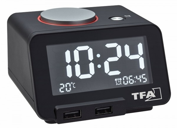 Digitalwecker Homtime TFA 60.2017 Temperaturanzeige USB Anschluß