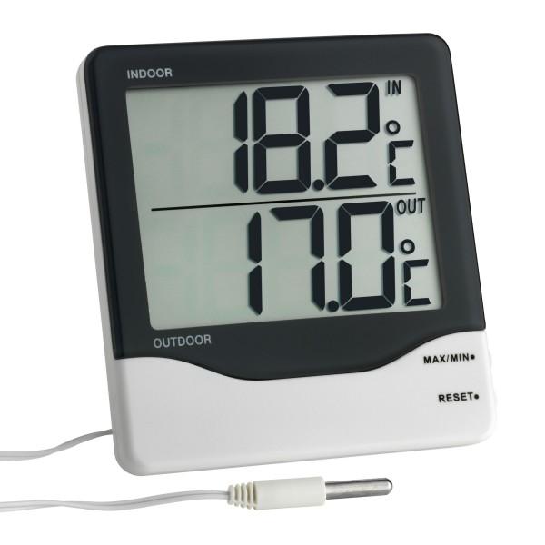 TFA Dostmann 30.1011.K.EK dig. digitales Innen-Außen-Thermometer mit Kabelfühler inkl. ISO Zertifika