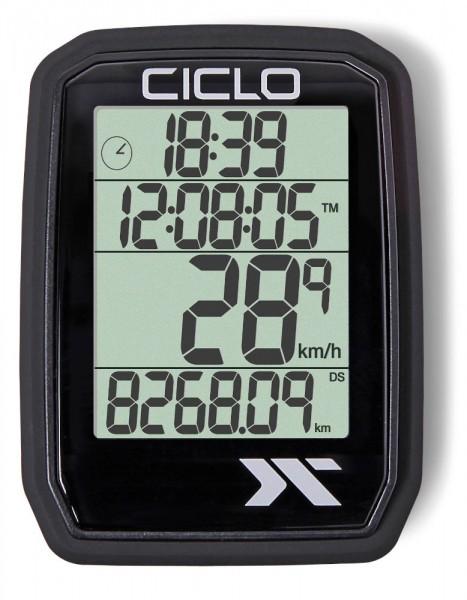 Ciclosport Protos 205 Funk Fahrradcomputer Fahrradtacho 4 Zeilen Display ohne Tasten