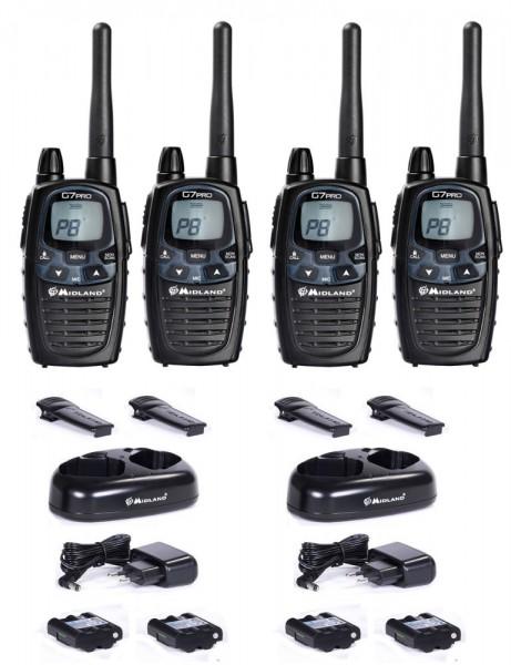 4 er Kofferset Midland G7 Pro Basic Funkgeräte