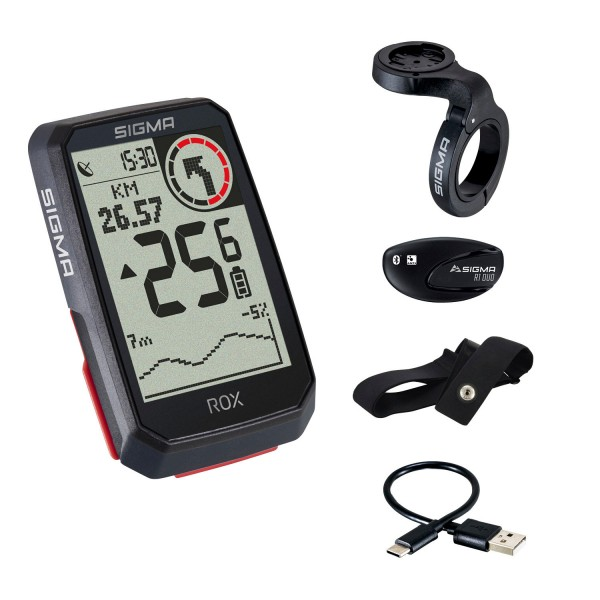 Sigma Rox 4.0 HR Set GPS Bike Computer Navi Fahrradtacho Komoot