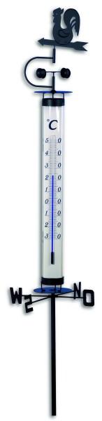TFA 12.2035 Analoges Gartenthermometer mit Wetterhahn und Windrad