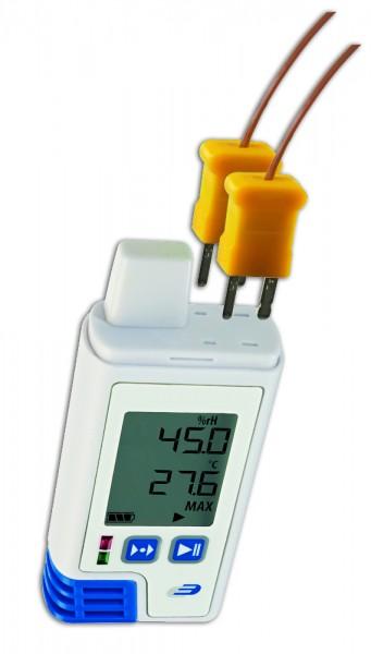 PDF-Datenlogger LOG210 TC 5005-0214 mit Display für Luftfeuchte Temperatur und 2 externe Fühler