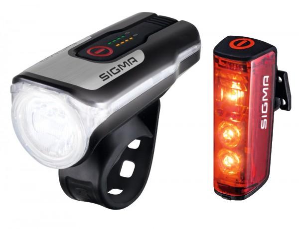 Sigma Aura 80 Set mit Blaze 17860 Fahrradlampe LED Fahrradleuchte Fahrradlicht STVZO Bremslicht