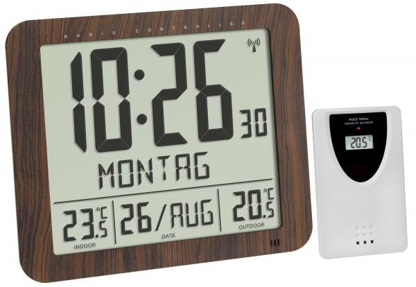 Funk Wanduhr TFA 60.4518.08 Funkwanduhren digital Temperatur