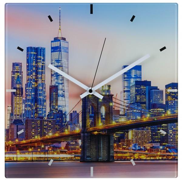 TFA 60.3531 Analoge Funk-Wanduhr aus Glas NEW YORK