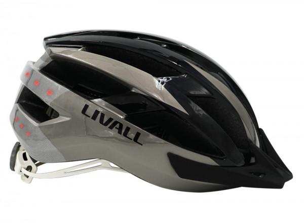 Livall Fahrradhelm schwarz-grau Gr. 54-58 Blinklichter Lautsprecher
