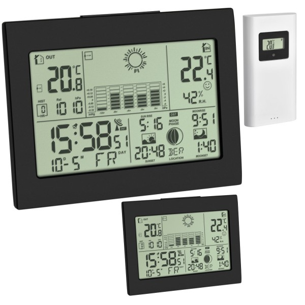 Funk Wetterstation Horizon Plus TFA 35.1155.01.99 Funkuhr Raumklimakontrolle 2 Display