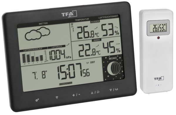 Funk-Wetterstation Elements TFA 35.1158.01 Display auf Deutsch Mondphase