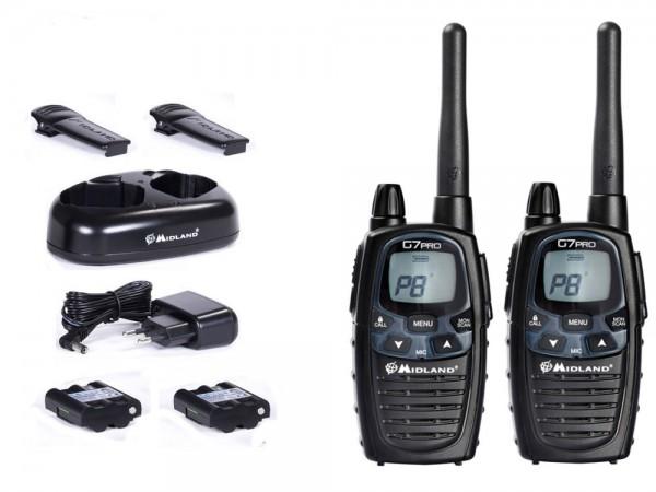 Midland Funkgerät Walkie-Talkie G7 Pro C1090 2er Set PMR + LPD Betrieb, inkl. Zubehör