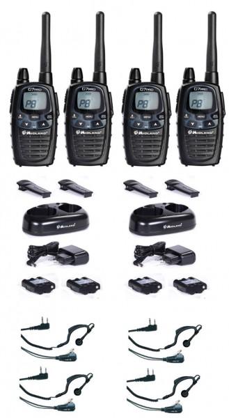 4 er Kofferset Midland G7 Pro Plus Funkgeräte