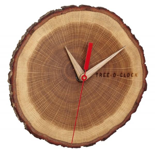 Analoge Wanduhr aus Eichenholz TREE-O-CLOCK