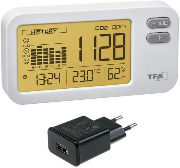 TFA-Dostmann Aircontrol Coach CO2 Monitor TFA 31.5009.02 mit USB Netzteil