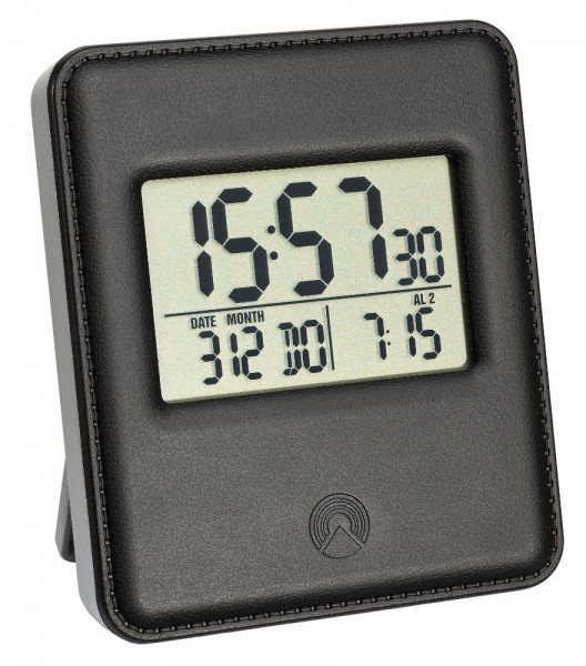 Digitaler Funkwecker TFA 60.2534 in Lederoptik 2 Uhrzeiten 2 Alarmzeiten