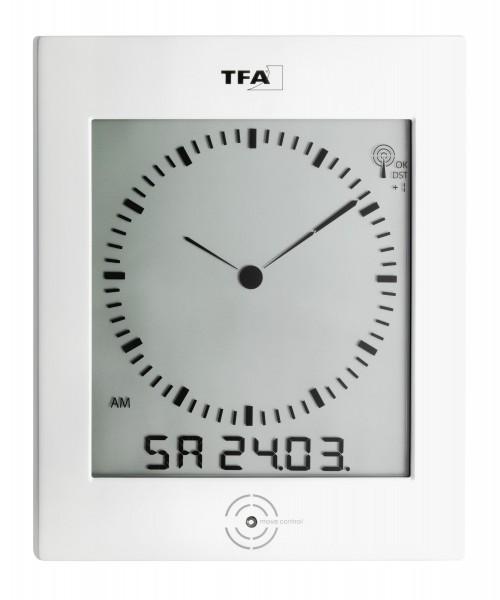 TFA 60.4506 Digitale Funk-Wanduhr mit analogem Zifferblatt und Raumklima DIALOG