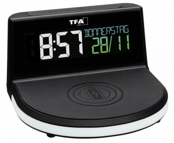 TFA 60.2028.01 Digitalwecker mit kabelloser Ladestation Charge-IT Wireless Farbdisplay