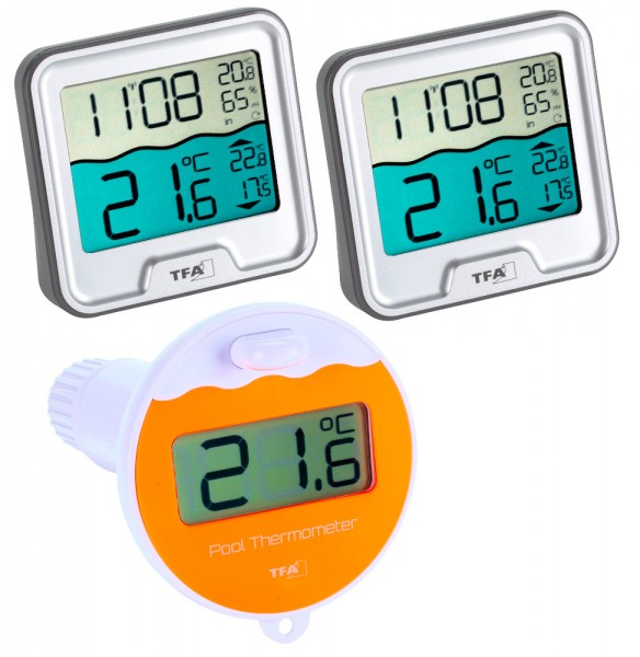 Funk Poolthermometer Marbella Mega silber TFA 30.3066.54.13.99 Schwimmbadthermometer
