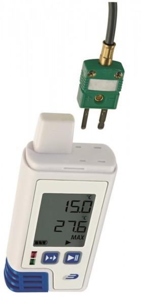 PDF-Datenlogger LOG200 TC 5005-0204 mit Display für Temperatur und 2 externe Fühler