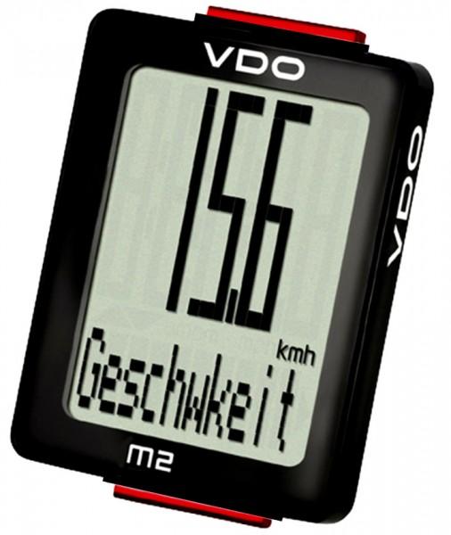 VDO Fahrradtacho M2 WL Blackline-Edition Funk-Fahrradcomputer Radtacho