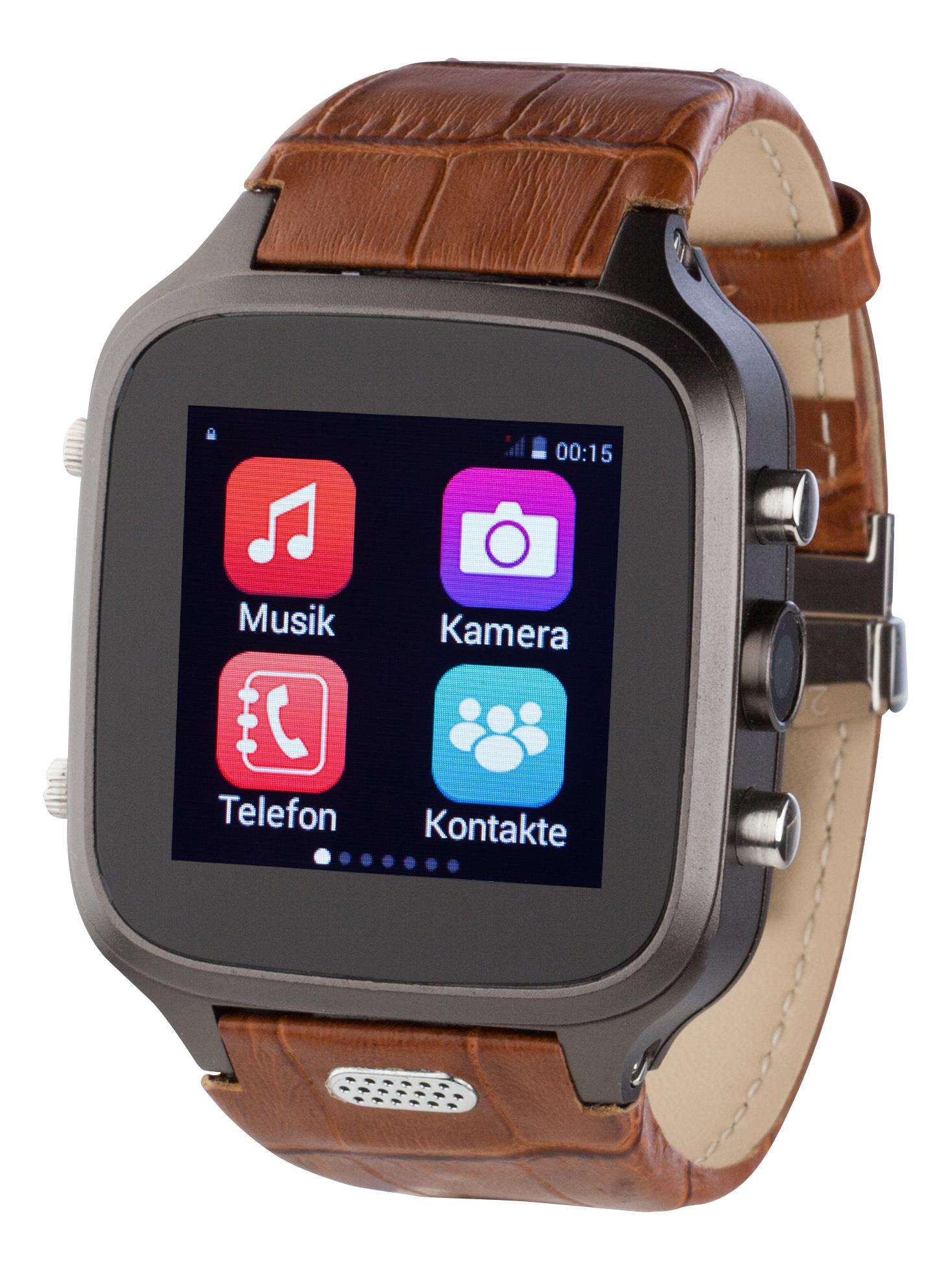 Speq Smartwatch braun Leder Armbanduhr Sim Look Frei Android 4 4 2 Handy Armbanduhren Uhren Wecker Waagen