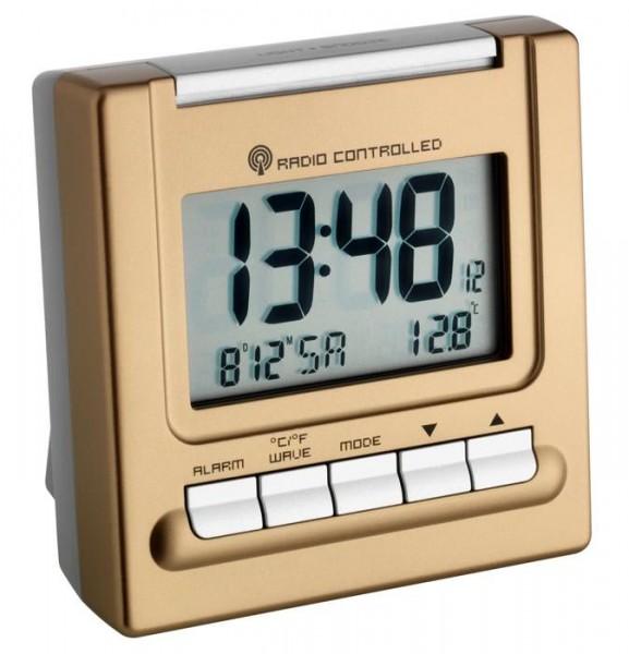 TFA Dostmann 98.1087 Funkwecker Bergamo Metallic-Edition mit Temperaturanzeige
