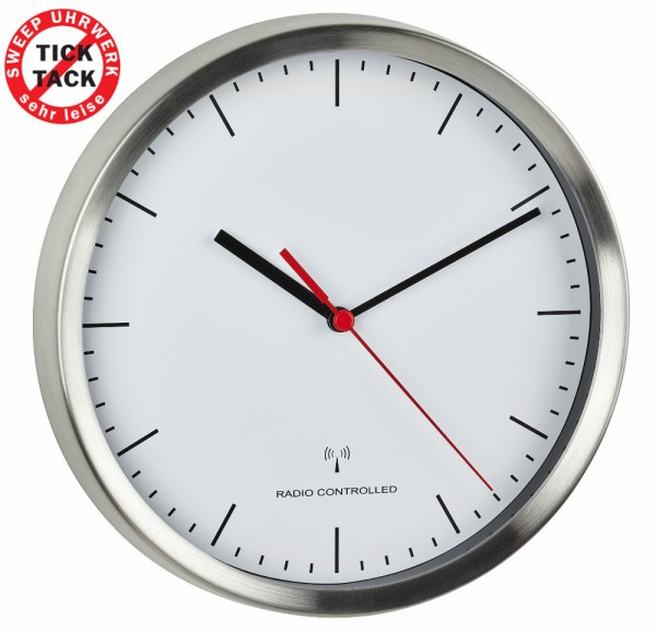 Funk-Wanduhr TFA 60.3530.02 Geräuscharm Funkwanduhren Sweep-Uhrwerk