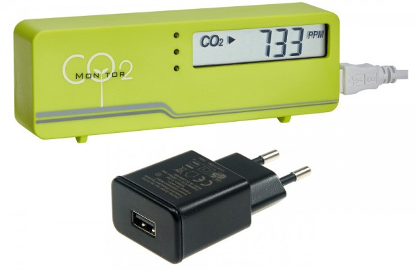 AirControl Mini CO2 Messgerät TFA 31.5006.04+ grün incl Stecker-Netzteil